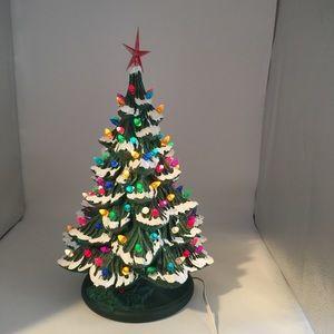 Vintage ceramic light up Christmas tree flocked